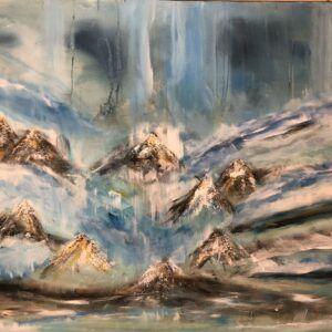 Blåt maleri Charlotte Tønder